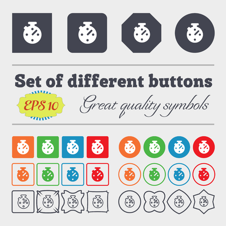 big timer: Timer, stopwatch icon sign. Big set of colorful, diverse, high-quality buttons. illustration