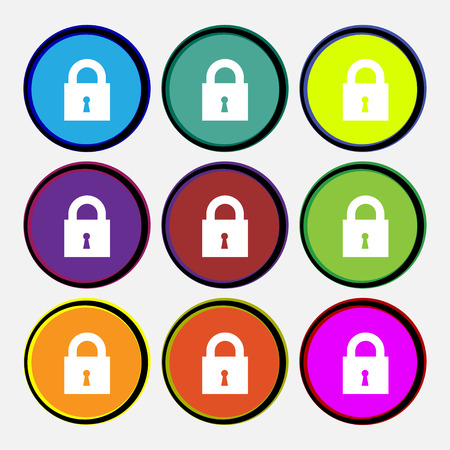 safest: closed lock icon sign. Nine multi colored round buttons. illustration