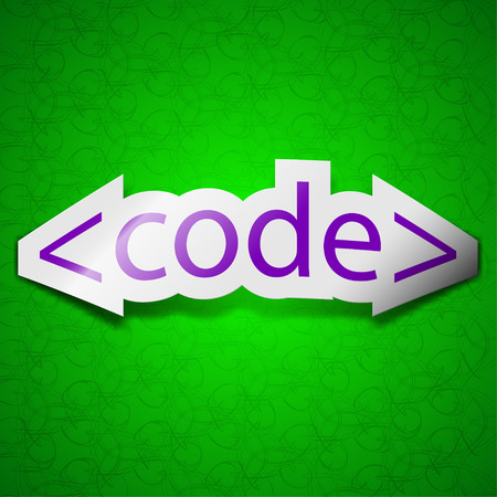 hypertext: Code icon sign. Symbol chic colored sticky label on green background. illustration