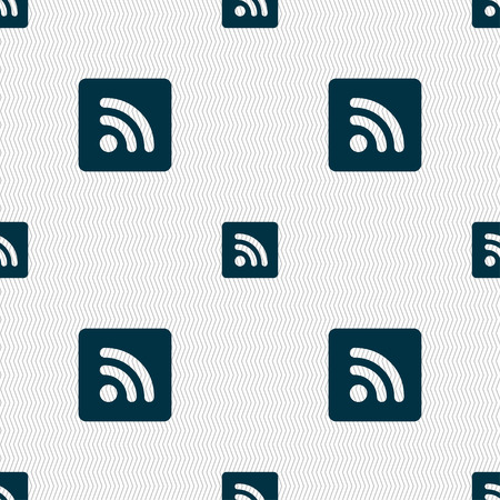 rss feed: RSS feed icon sign. Seamless pattern with geometric texture. illustration