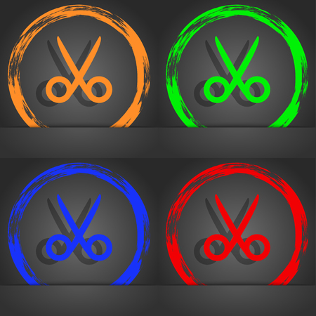 disclosed: Scissors hairdresser sign icon. Tailor symbol. Fashionable modern style. In the orange, green, blue, red design. illustration Stock Photo