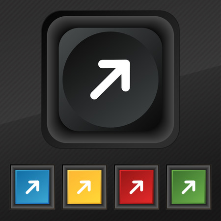 expand: Arrow Expand Full screen Scale icon symbol. Set of five colorful, stylish buttons on black texture for your design. illustration