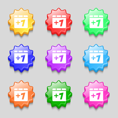 append: Plus one, Add one icon sign. symbol on nine wavy colourful buttons. illustration