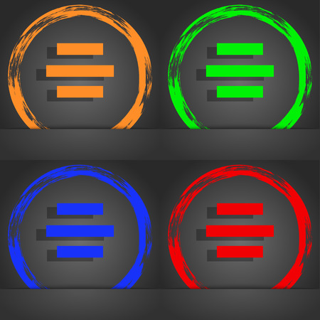 alignment: Center alignment icon sign. Fashionable modern style. In the orange, green, blue, red design. illustration Stock Photo