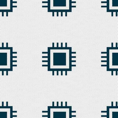 electronic components: Central Processing Unit Icon. Technology scheme circle symbol. Seamless abstract background with geometric shapes. illustration Stock Photo