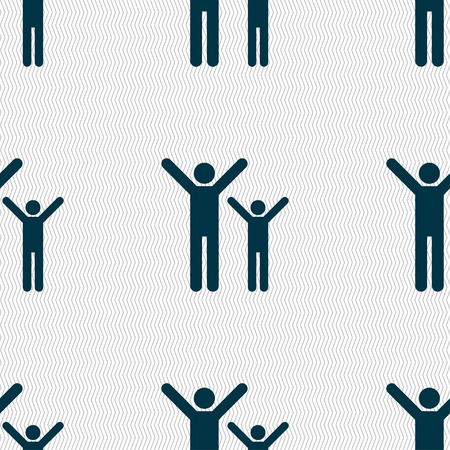 group of kids: happy family icon sign. Seamless pattern with geometric texture. illustration Stock Photo