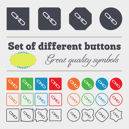 hyperlink: Link sign icon. Hyperlink chain symbol. Big set of colorful, diverse, high-quality buttons. illustration