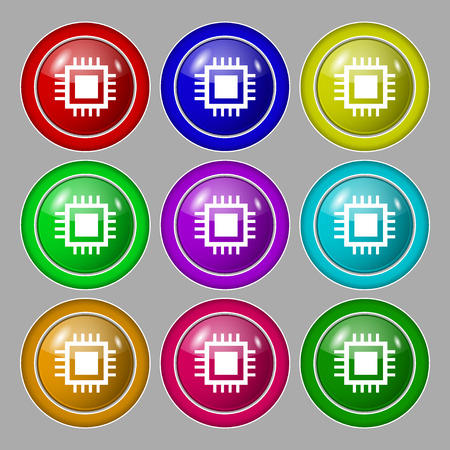 transistor: Central Processing Unit Icon. Technology scheme circle symbol. Symbol on nine round colourful buttons. illustration