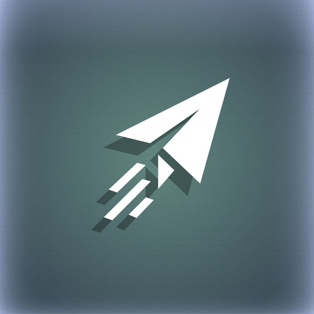 paper airplane: Paper airplane icon symbol on the blue-green abstract background with shadow and space for your text. illustration
