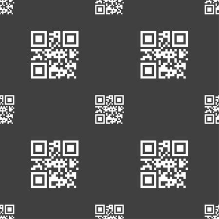 qrcode: Qr code icon sign. Seamless pattern on a gray background. illustration Stock Photo
