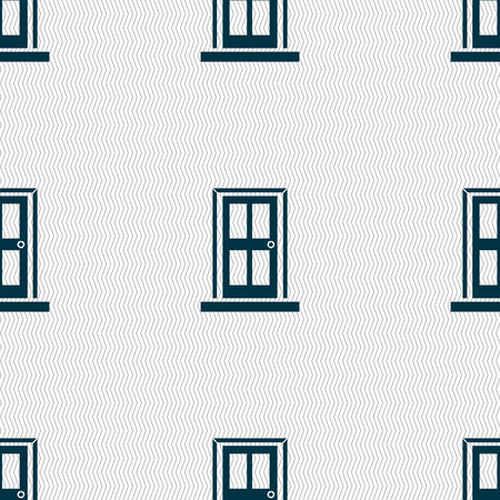 door icon: Door icon sign. Seamless abstract background with geometric shapes. illustration