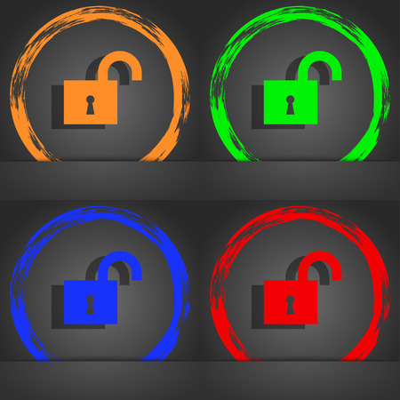 oldish: open lock icon symbol. Fashionable modern style. In the orange, green, blue, green design. illustration
