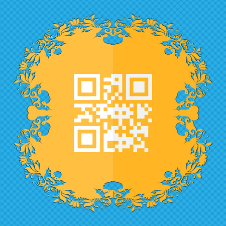 qrcode: Qr code. Floral flat design on a blue abstract background with place for your text. illustration