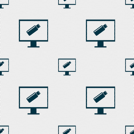 quality controller: usb flash drive and monitor sign icon. Video game symbol. Seamless abstract background with geometric shapes. illustration Stock Photo