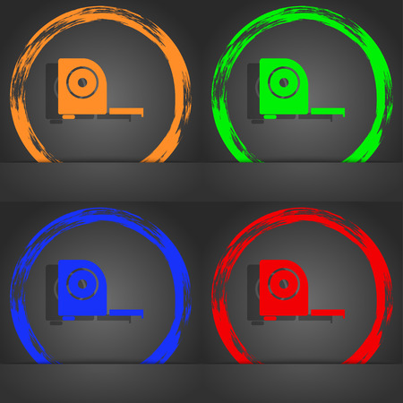 full size: Roulette construction icon sign. Fashionable modern style. In the orange, green, blue, red design. illustration