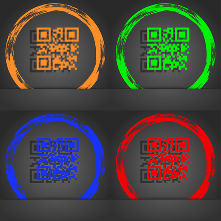 coded: Qr code icon symbol. Fashionable modern style. In the orange, green, blue, green design. illustration Stock Photo