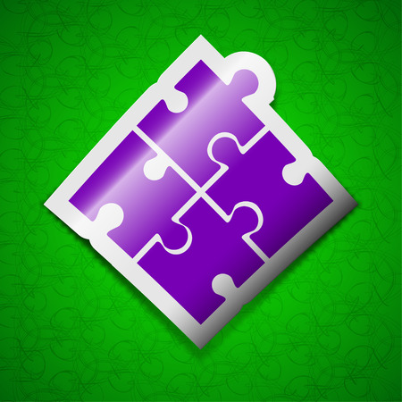 puzzle corners: Puzzle piece icon sign. Symbol chic colored sticky label on green background. illustration Stock Photo