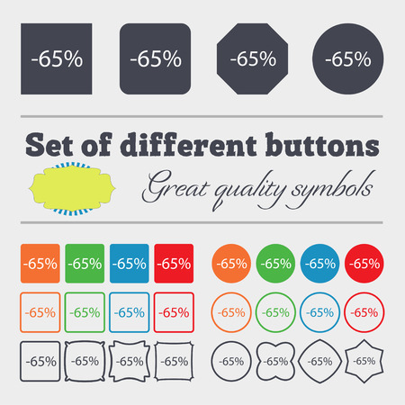 65: 65 percent discount sign icon. Sale symbol. Special offer label. Big set of colorful, diverse, high-quality buttons. illustration Stock Photo