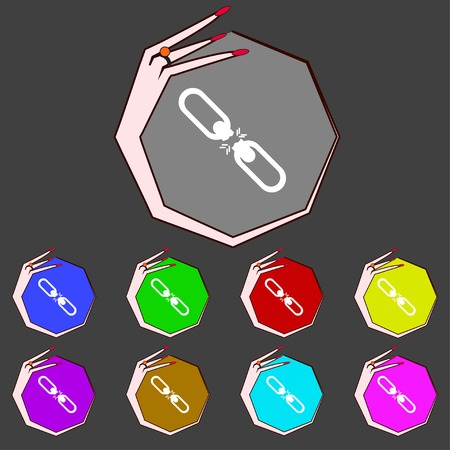 interlink: Broken connection flat single icon.Set colur buttons. illustration