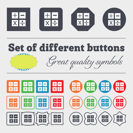 Multiplication, division, plus, minus icon Math symbol Mathematics. Big set of colorful, diverse, high-quality buttons. illustration Stock Photo