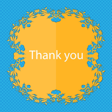 gratitude: Thank you sign icon. Gratitude symbol. Floral flat design on a blue abstract background with place for your text. illustration