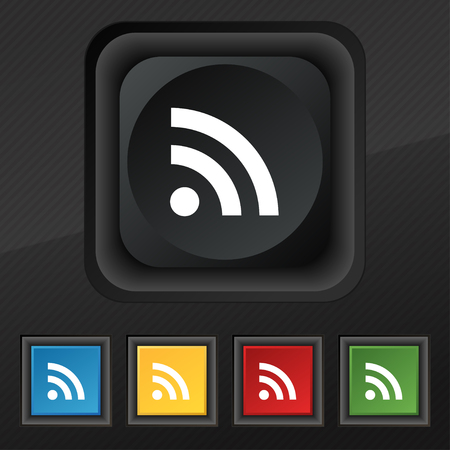rss feed icon: RSS feed icon symbol. Set of five colorful, stylish buttons on black texture for your design. illustration
