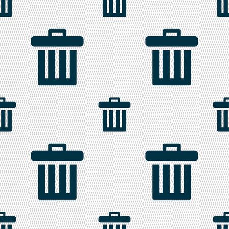 papelera de reciclaje: Reciclar el icono signo bin. Patrón sin fisuras con textura geométrica. ilustración