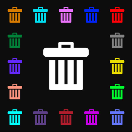 refuse bin: Recycle bin icon sign. Lots of colorful symbols for your design. illustration