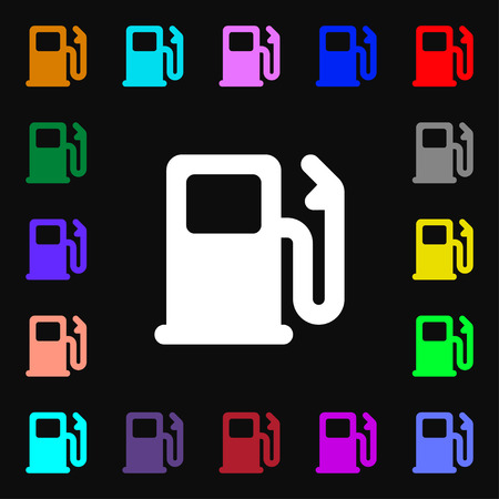 car lots: Petrol or Gas station, Car fuel icon sign. Lots of colorful symbols for your design. illustration Stock Photo