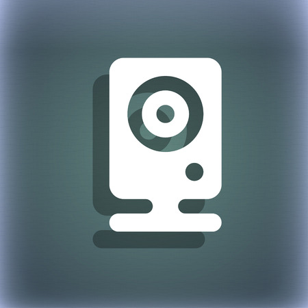 web cam: Web cam icon symbol on the blue-green abstract background with shadow and space for your text. illustration