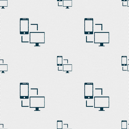 sync: Synchronization sign icon. communicators sync symbol. Data exchange. Seamless abstract background with geometric shapes. illustration