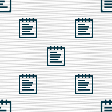 message pad: Notepad icon sign. Seamless pattern with geometric texture. illustration Stock Photo