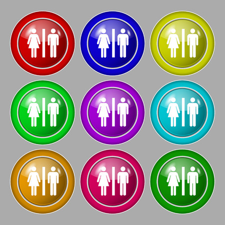 gents: silhouette of a man and a woman icon sign. symbol on nine round colourful buttons. illustration