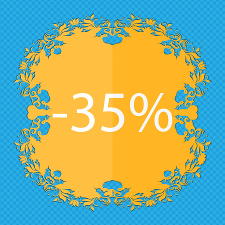 35: 35 percent discount sign icon. Sale symbol. Special offer label. Floral flat design on a blue abstract background with place for your text. illustration