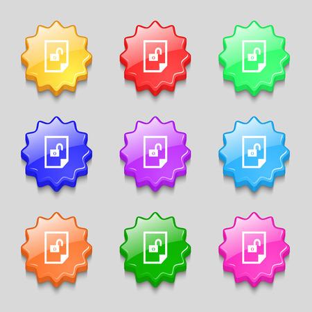 unlocked: File unlocked icon sign. Symbols on nine wavy colourful buttons. illustration Stock Photo