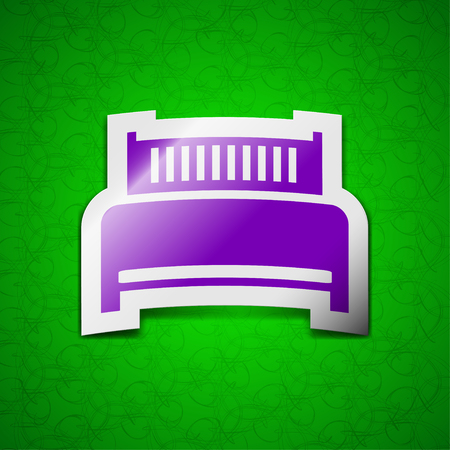 hotel bed: Hotel, bed icon sign. Symbol chic colored sticky label on green background. illustration Stock Photo