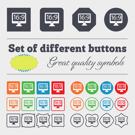 widescreen: Aspect ratio 16:9 widescreen tv icon sign. Big set of colorful, diverse, high-quality buttons. illustration Stock Photo