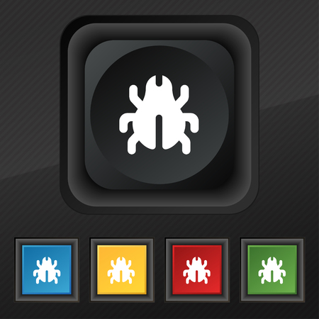 acarus: Software Bug, Virus, Disinfection, beetle icon symbol. Set of five colorful, stylish buttons on black texture for your design. illustration