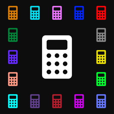 Calculator, Bookkeeping icon sign. Lots of colorful symbols for your design. illustration