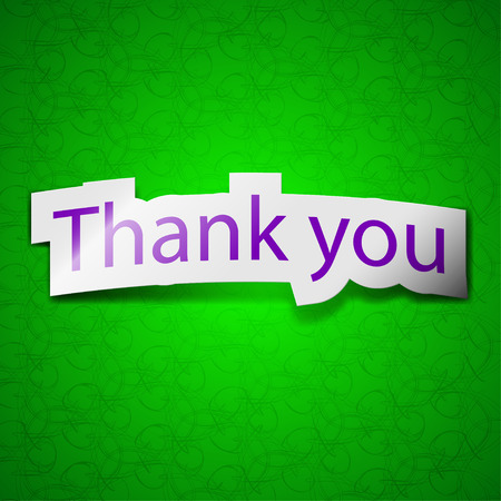 politeness: Thank you icon sign. Symbol chic colored sticky label on green background. illustration