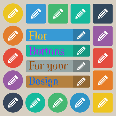 secretarial: pencil icon icon sign. Set of twenty colored flat, round, square and rectangular buttons. illustration Stock Photo