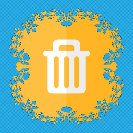 litter bin: Recycle bin. Floral flat design on a blue abstract background with place for your text. illustration
