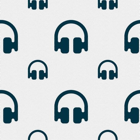 earphones: Headphones, Earphones icon sign. Seamless pattern with geometric texture. illustration