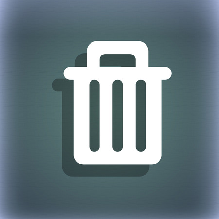 recycle bin: Recycle bin icon symbol on the blue-green abstract background with shadow and space for your text. illustration