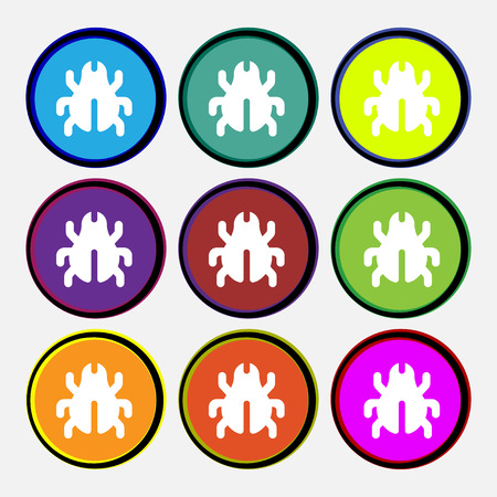 acarus: Software Bug, Virus, Disinfection, beetle icon sign. Nine multi-colored round buttons. illustration