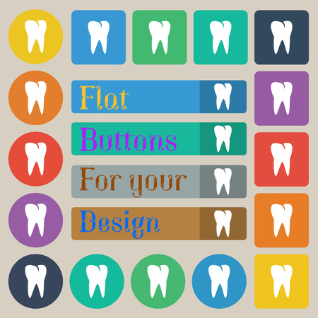 cavity braces: tooth icon. Set of twenty colored flat, round, square and rectangular buttons. illustration