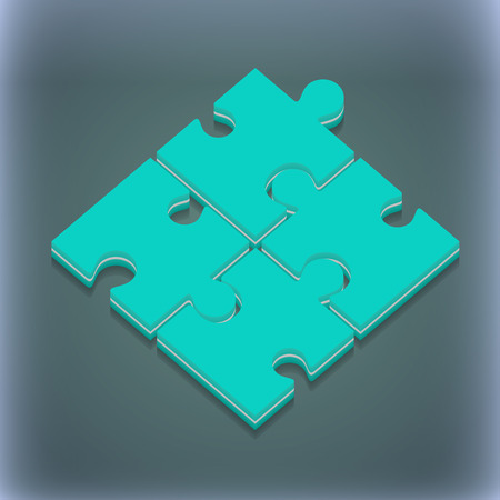 puzzle corners: Puzzle piece icon symbol. 3D style. Trendy, modern design with space for your text illustration. Raster version Stock Photo