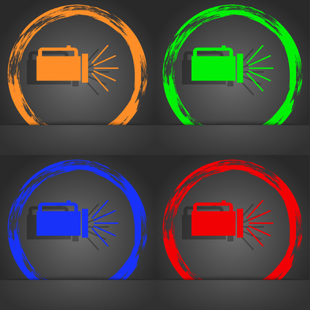 lite: flashlight icon sign. Fashionable modern style. In the orange, green, blue, red design. illustration Stock Photo