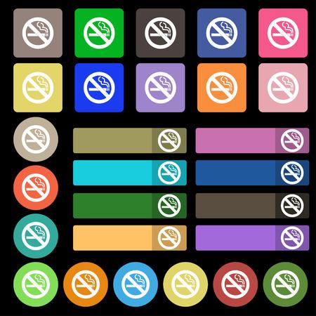 pernicious habit: no smoking icon sign. Set from twenty seven multicolored flat buttons. illustration Stock Photo