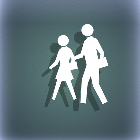 crosswalk: crosswalk icon symbol on the blue-green abstract background with shadow and space for your text. illustration